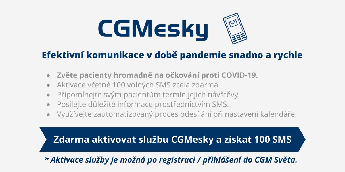 _ Aktivace služby je možná po registraci _ přihlášení do CGM Světa.